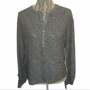 Frank and Oak 1/4 Button Paisley Blouse Size Small